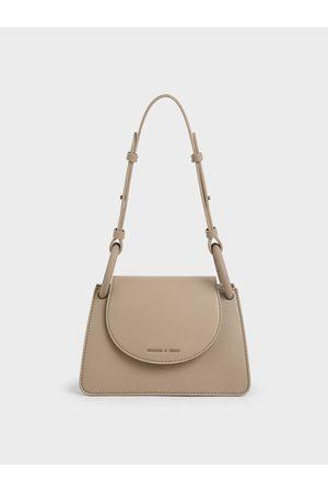 CHARLES & KEITH Women Bags - Circular Flap Trapeze Bag