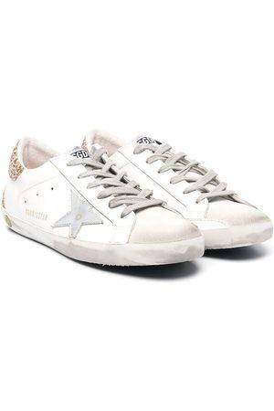 Golden Goose Kids Superstar glitter-heel distressed sneakers
