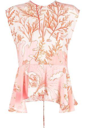 Stella McCartney Coral-print peplum blouse