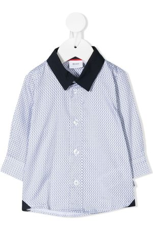 BOSS Kidswear Monogram print long-sleeve shirt