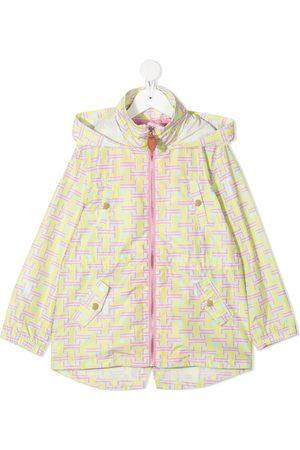 LANVIN Enfant Geometric print hooded rain jacket