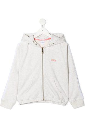 BOSS Kidswear Zip-front cotton hoodie - Grey