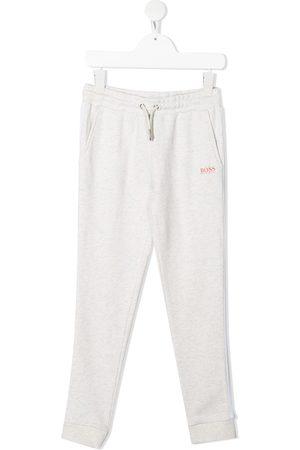 BOSS Kidswear Glitter-stripe leg trackpants - Grey