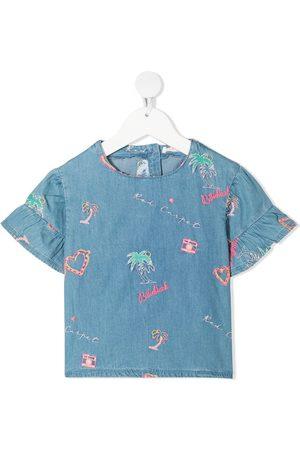 Billieblush Embroidered-ruffle blouse
