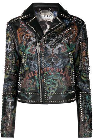 Philipp Plein Tattoo-print biker jacket
