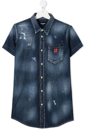 Dsquared2 Kids TEEN distressed denim shirt