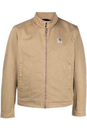 Diesel Logo patch biker jacket - Neutrals