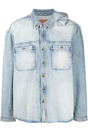 Y/Project Light-wash asymmetric collar denim shirt