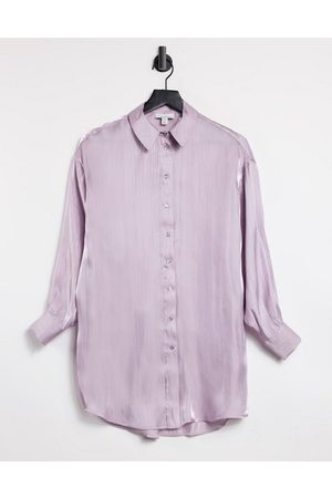 Topshop Oversized satin shirt in lilac