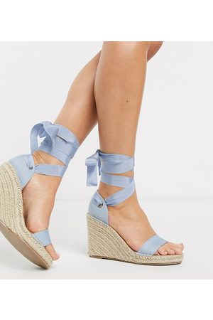 ASOS Wide Fit Treat tie leg espadrille wedge sandals in blue-Blues