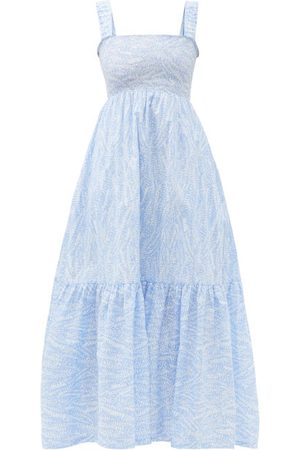 Heidi Klein Cape Verde Smocked Feather-print Cotton Maxi Dress - Womens - Print