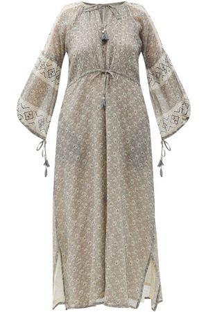 D'ASCOLI Women Printed Dresses - Pega Drawstring Floral-print Cotton-khadi Dress - Womens - Multi