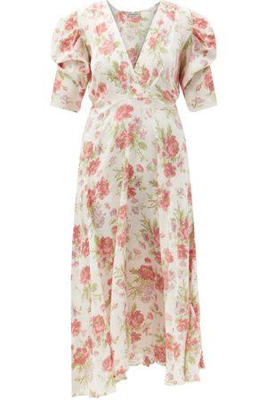 D'ASCOLI Kati V-neck Floral-print Silk-crepe Midi Dress - Womens - Multi