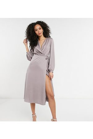 TFNC Bridesmaid satin long sleeve wrap front midi dress in -Grey