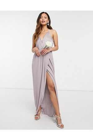 TFNC Bridesmaid satin halterneck top maxi dress in -Grey