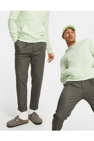 ASOS Men Chinos - Tapered turnup smart pants in khaki twill