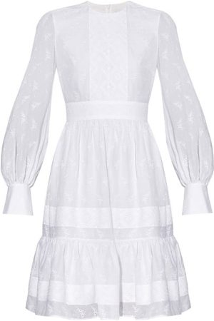 Erdem Suzette Floral-embroidered Poplin Tiered Dress - Womens