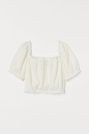 H&M Cropped Puff-sleeved Top
