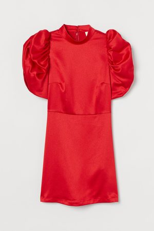 H&M Puff-sleeved Satin Dress