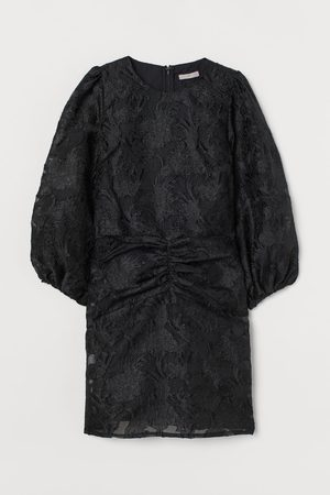H & M Women Bodycon Dresses - Puff-sleeved Brocade Dress