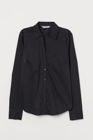 H&M V-neck Cotton Poplin Shirt