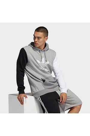 adidas Men Hoodies - Men's Originals Blocked Trefoil Hoodie in Grey/Medium Grey Heather Size Small 100% Cotton