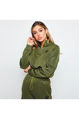 SikSilk Women's Cargo Pocket Cropped Track Top in /Khaki Size X-Small Silk