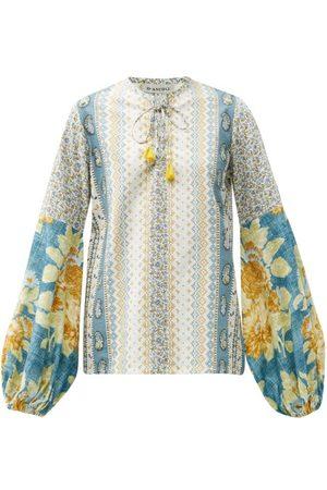 D'ASCOLI Tatiana Floral-print Balloon-sleeve Cotton Blouse - Womens - Multi
