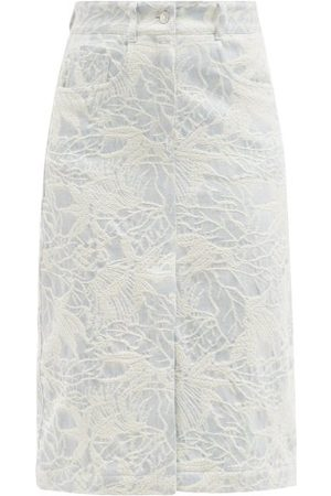 Msgm Leaf-jacquard Denim Skirt - Womens - Light