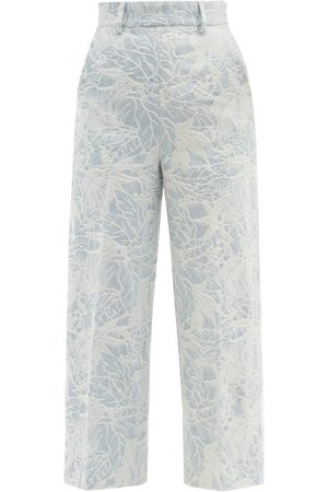 Msgm Women Formal Pants - Floral-jacquard Tailored Denim Trousers - Womens - Light