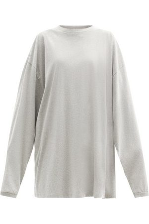 Raey Women Long Sleeve - Oversized Recycled-yarn Cotton-blend T-shirt - Womens - Grey Marl