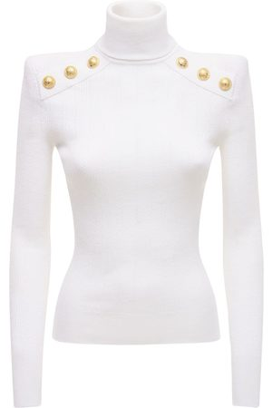 Balmain Viscose Blend Turtleneck Knit Sweater