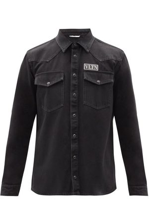 VALENTINO Vltn Logo-patch Denim Overshirt - Mens