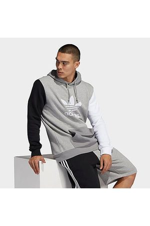 adidas Men's Originals Blocked Trefoil Hoodie in Grey/Medium Grey Heather