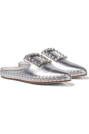 Roger Vivier Women Flat Shoes - RV Lounge metallic leather slippers