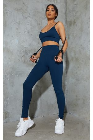 PRETTYLITTLETHING Navy Basic Seamless High Waist Gym Leggings