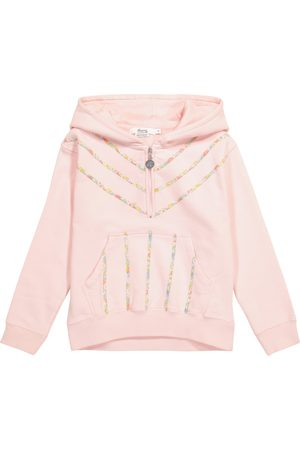 BONPOINT Girls Hoodies - Floral-trimmed cotton hoodie
