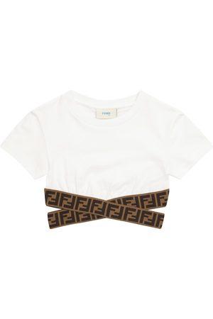 Fendi Girls Crop Tops - FF cotton crop top