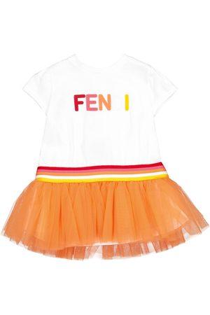 Fendi Baby logo cotton and tulle dress