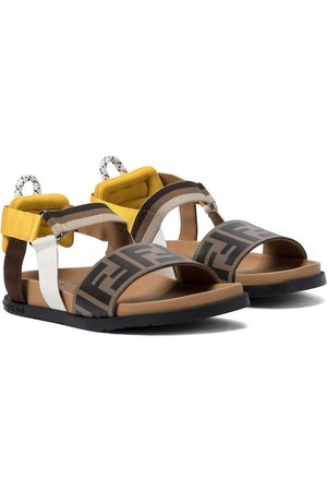 Fendi FF leather and canvas sandals