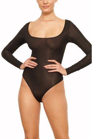 SKIMS Women's Jelly Sheer Long Sleeve Thong Bodysuit
