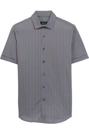 Bugatchi Men's Ooohcotton Tech Dot Mini Check Short Sleeve Knit Button-Up Shirt