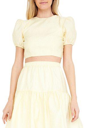 Bardot Women's Demi Jacquard Puff Sleeve Open Back Crop Top
