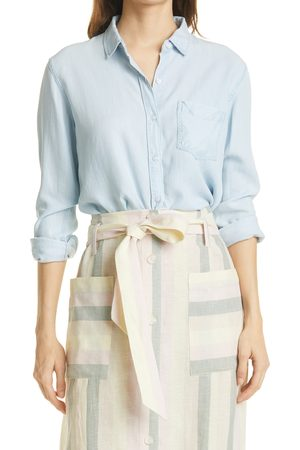 Rails Women's Alana Raw Hem Chambray Long Sleeve Button-Up Shirt