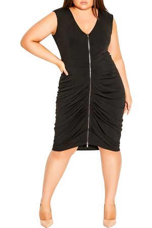 City Chic Plus Size Women's Ruched Front Zip Sleeveless Dress