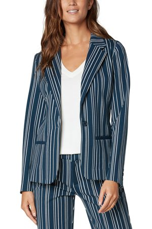 Liverpool Los Angeles Women's Stripe Fitted Ponte Blazer