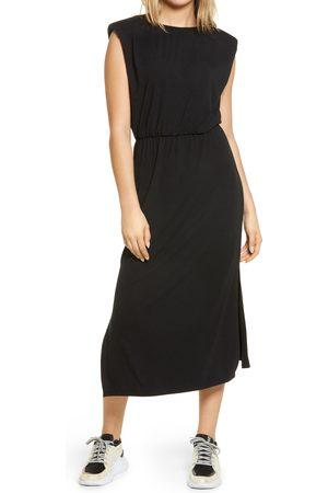 WAYF Women's Padded Shoulder Midi Dress
