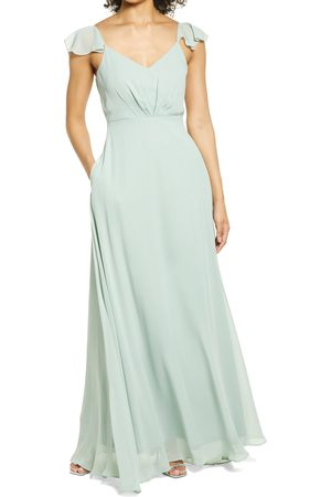 BIRDY GREY Women's Flutter Sleeve Chiffon Gown