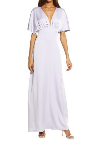 WAYF Women's The Chiara Flutter Sleeve Satin Dress