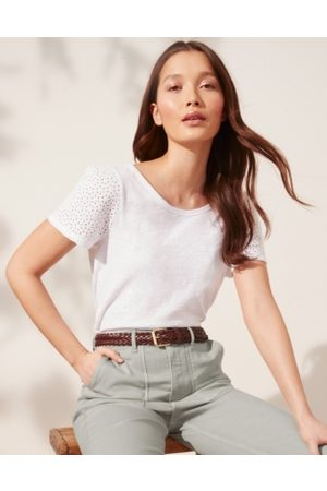 The White Company Broderie-Sleeve Jersey Top